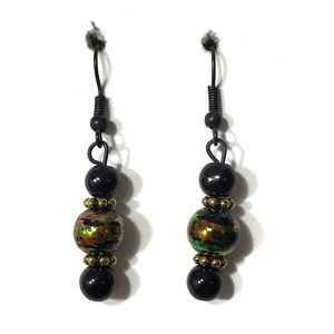 3 for $25 black and gold beaded earrings